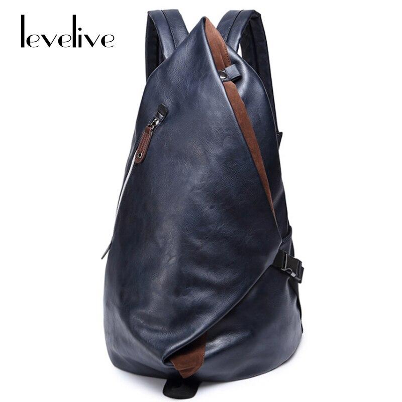 LEVELIVE New Fashion Men's Backpacks Waterproof Travel Bags for Men School Bag Leather Laptop Backpack Male Bagpack Shoulder Bag