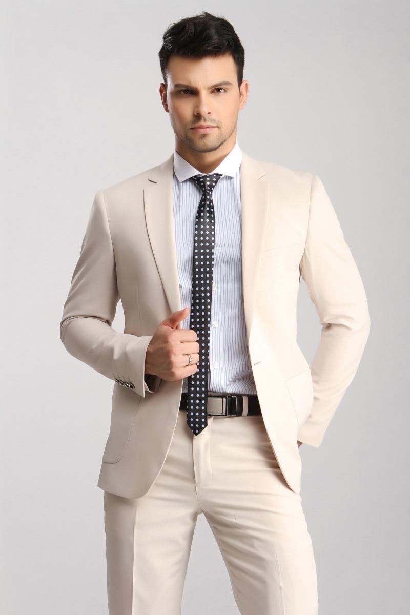 FOLOBE costume homme Custom Made Beige Mens Slim Suits 3 Pcs Bridegroom Wedding Suits For Men Dress Suit Blazer+Vest+Pants