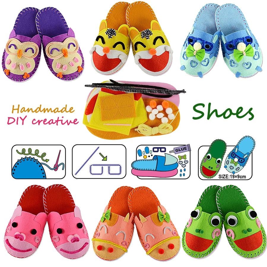 Diy Handmade Cartoon Slippers Sewing Kit,non-woven Fabric Shoes Kids Art & Crafts Kindergarden Montessori Educational Kid Toys