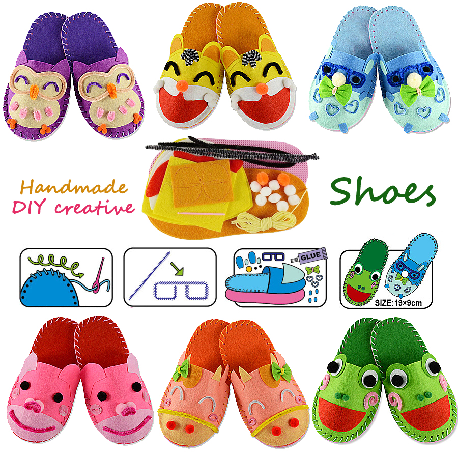 Cartoon:  DIY Handmade Cartoon slippers sewing kit,Non-woven Fabric Shoes kids Art & Crafts Kindergarden Montessori Educational Kid Toys - Martin's & Co
