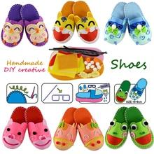Kit de costura de zapatillas de dibujos animados hechas a mano, zapatos de tela chico tejida para niños Arte y manualidades Kindergarden Montessori juguetes educativos chico