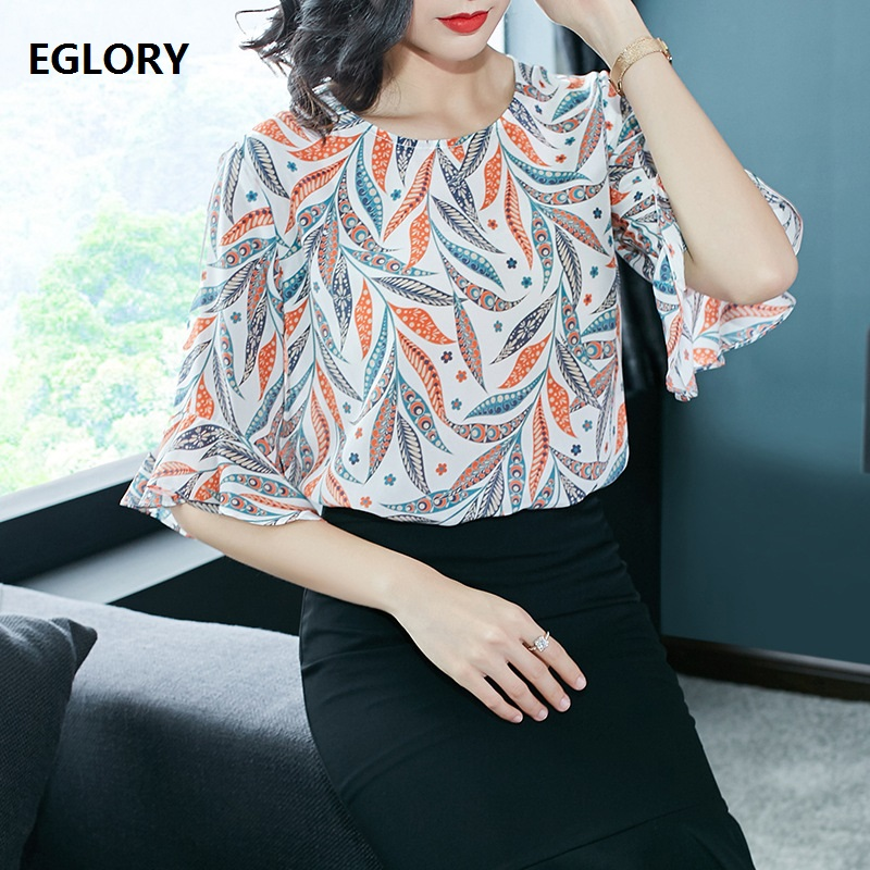 New Plus Size XXL Blouse Silk Print Top 2018 Summer Women Office Ladies Work Elegant Blouse Shirt Female Blusas Feminina Chemis