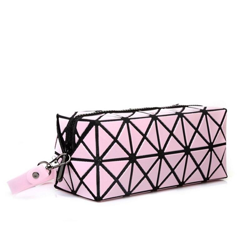 Fashion Geometric Zipper Cosmetic Case Organizer Women Luxury Designer Famous Brand Laser Diamond Ladies Cosmetics Makeup Bag