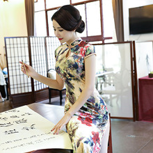 New Senior Colored Velour Cheongsams Traditional Chinese Dress Women Autumn Winter Fashion Vintage Slim Qipao Dress Velvet