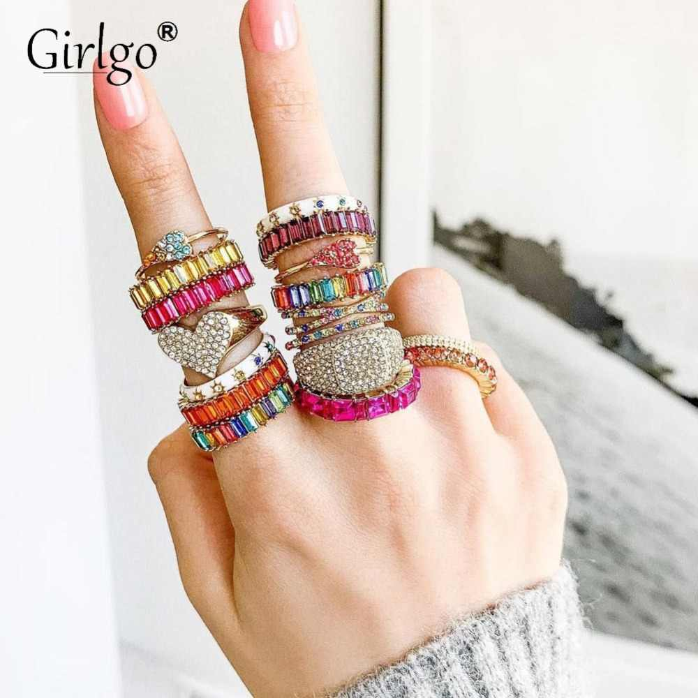 Girlgo Vintage Bohemian Crystal BA Charm Rings for Women Trendy Multicolored Engagement Rings Jewelry Wedding Party Wholesale