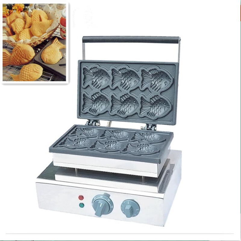 110V 220V Non-Stick Commercial Electric Fish Waffle Iron Machine Taiyaki Fish Waffle Maker 6pcs Waffle Baker Free Shipping commercial non stick 110v 220v digital electric 23pcs walnut waffle maker iron machine