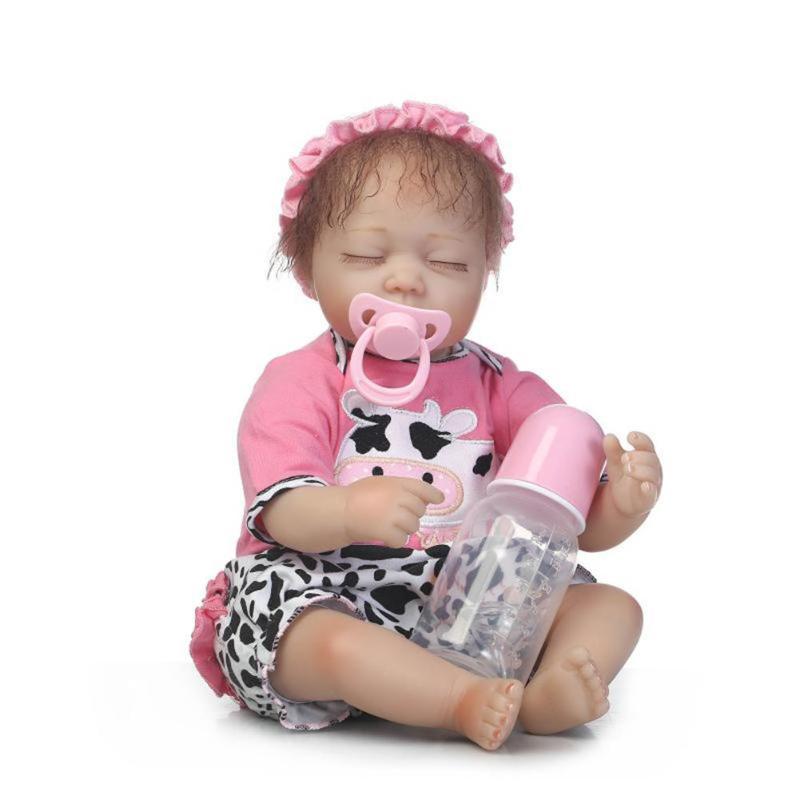 Cute Simulation Reborn Baby Dolls Set Soft Silicone Lifelike Newborn Baby Doll Toys Kids Sleep Accompany Playmate Gift Toys npkcollection55cm soft silicone newborn baby doll with eyes closed simulation to accompany sleep toys silicone reborn baby doll