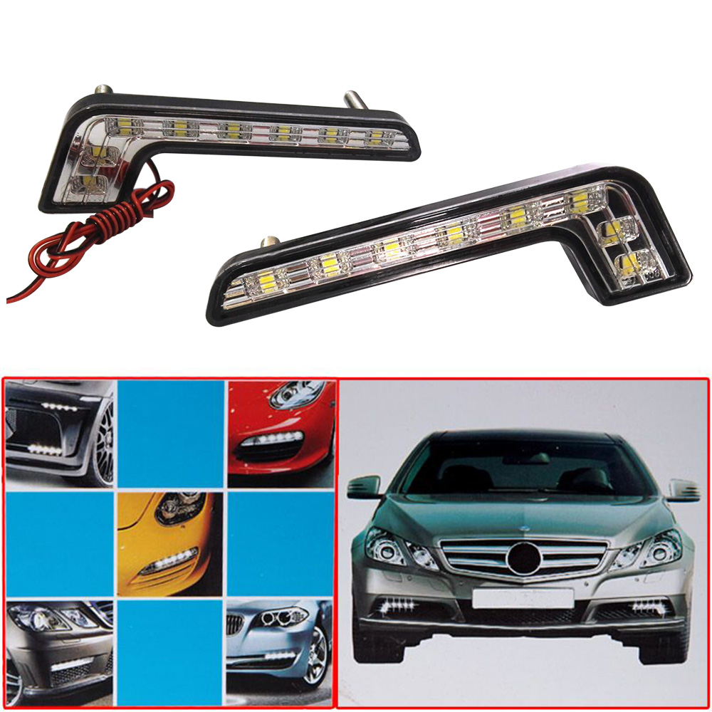 2 * Super Bright White 8 LED DRL Car Daytime Running Driving Light Car Styling Light Lamp Waterproof Shockproof Light Bulb super bright h7 8 led white car vehicle bulb fog driving daytime light lamp 12v free shipping