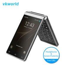 Vkworld T2 Plus 4G LTE Double Écran Clé Flip Téléphone tactile Andorid 7.0 3 GB + 32 GB Clamshell Smartphone 4.2 Pouce Mobile Téléphone 2000 mAh