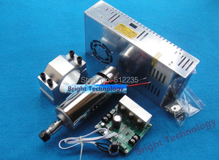 DC ER11 0.4KW 400W Air-cooling Cooled Spindle Motor+ Mach3 Speed Governor Regulator+52mm Spindle Fixture+ Power Supply new product 220v 2 2kw cnc air cooled spindle motor er16 air cooling 4 bearing