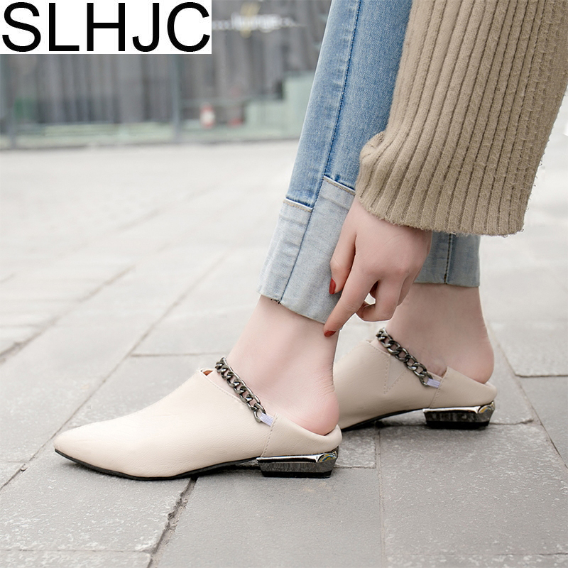 SLHJC Leather Flats Pointed Toe With Metal Chain Fashion Spring Summer 2018 Women Shoes Casual Slippers Slip On Low Heel Shoes 2017 summer new fashion sexy lace ladies flats shoes womens pointed toe shallow flats shoes black slip on casual loafers t033109