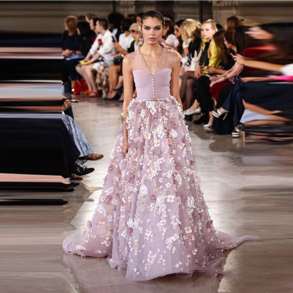 Jolies robes De soirée 2019 lavande Floral robes De bal cristal Puffy formelle robe De soirée longues robes De bal robe De Festa