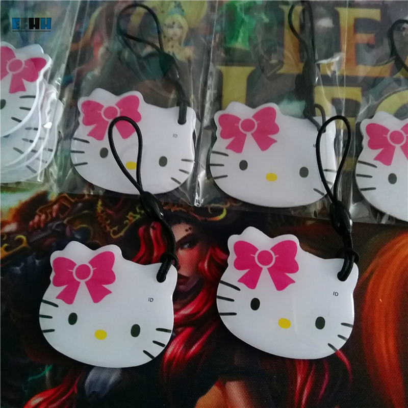 1Pcs/lot 125Khz T5577/T5567/T5557/T5200 RFID Rewritable Cartoon Keyfobs Token Tags Key Fob Copy Clone Blank Card (Cat)