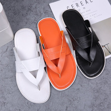 2019 New Trend Men Leisure slippers Soft Sole Slippers Men Black Orange Slide Flip Flops Mens Summer Male Beach Shoes Flat