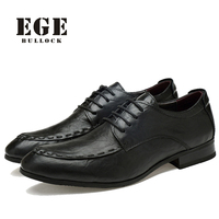 Men Dress Shoes New 2016 Handmade Genuine Leather Lace Up Business Wedding Male Flats Pointed Toe