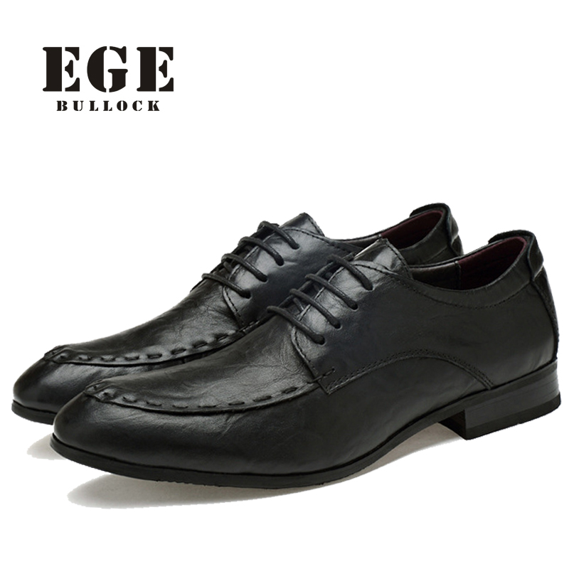 цены  Men Dress Shoes New Arrival Handmade Genuine Leather Lace-up Business Wedding Male Flats Pointed toe Big Size Brand Men Oxfords