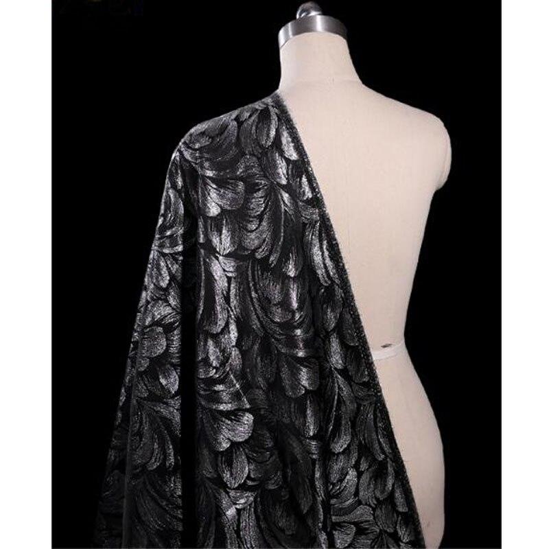 143*1 m bonne conception française Jacquard brocart tissu robe fil d'argent plume Jacquard brocart tissu couture matériel bricolage costume