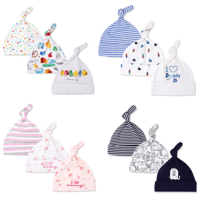 3pcs lot Baby Hats Fitted Cartoon Pattern Baby Hat For Girls Soft Cotton Baby Caps For Boys Newborn Baby Photography Props