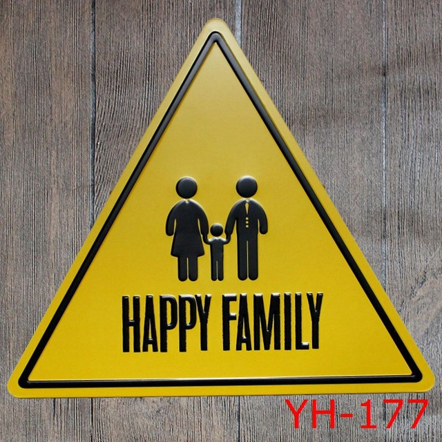 HAPPY FAMILY Triangle Shape Tin signs IRON Wall Sticker Metal Tin ...