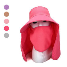 f2a47ca6404fc Summer Women Sun Hat Removable Neck Face Flap Farmer UV Protection Cap for Outdoor  Fishing JL