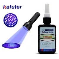 Starke leistung 51led UV licht + Kafuter 50ml UV Kleber Uv-härtung Klebstoff K-300 Transparent Kristall und Glas Klebstoff