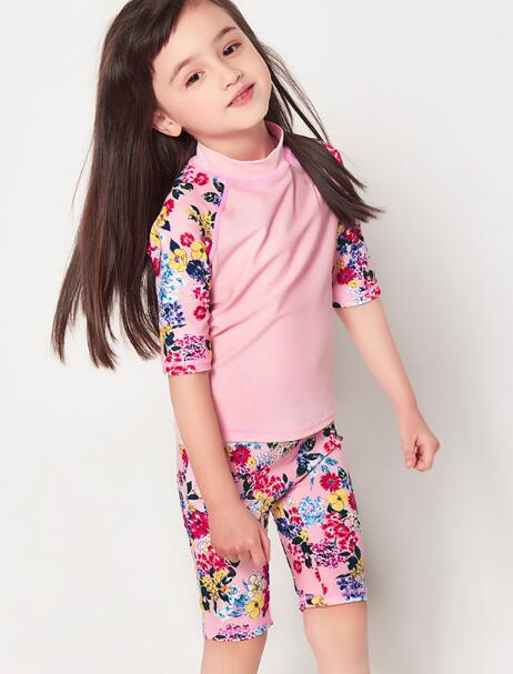 July sand pink flower print half sleeve two piece surf suit for girl 12004 pink flower print fit