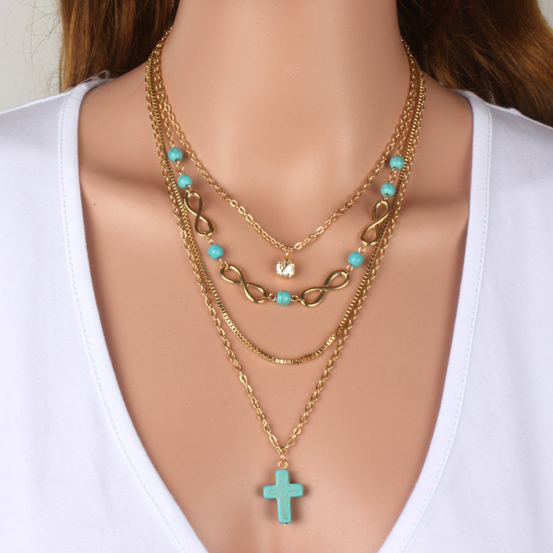 Women Multi layer necklace gold color blue stone cross Necklace Set