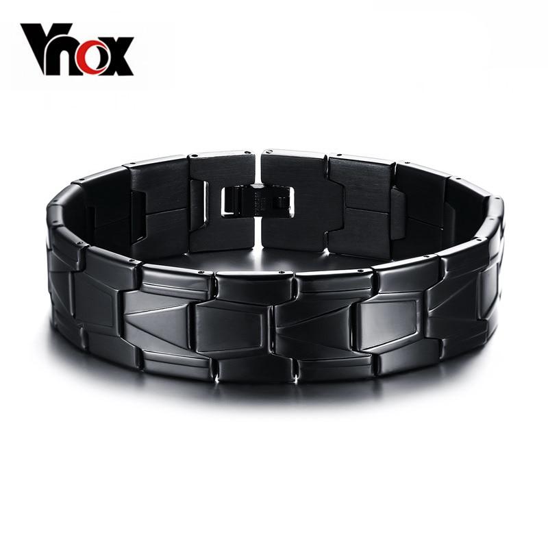Stainless Steel Bracelet Charms: Vnox Stainless Steel Men Jewelry Black Color Bracelet