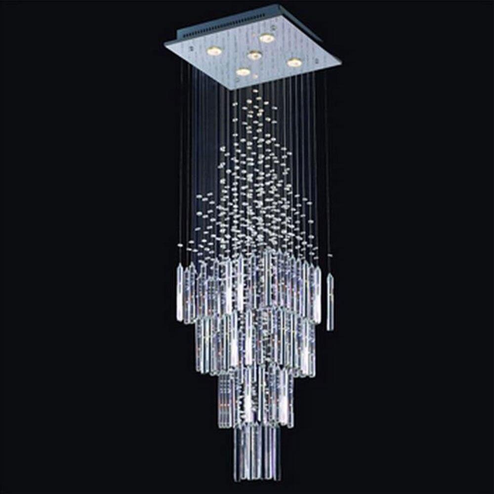 2017 New 40*40*130cm stairwell lighting Modern K9 crystal staircase hanging lamp lustre candelabro stair licht home lighting