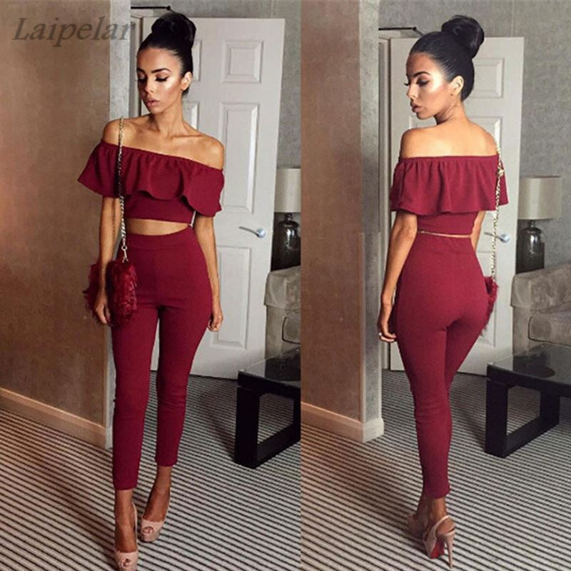 Sexy Off Shoulder 2 Piece Set Long Jumpsuit Slim Ruffles Bodycon Femme Overalls Playsuit Romper Women Jumpsuit Laipelar in Jumpsuits from Women 39 s Clothing