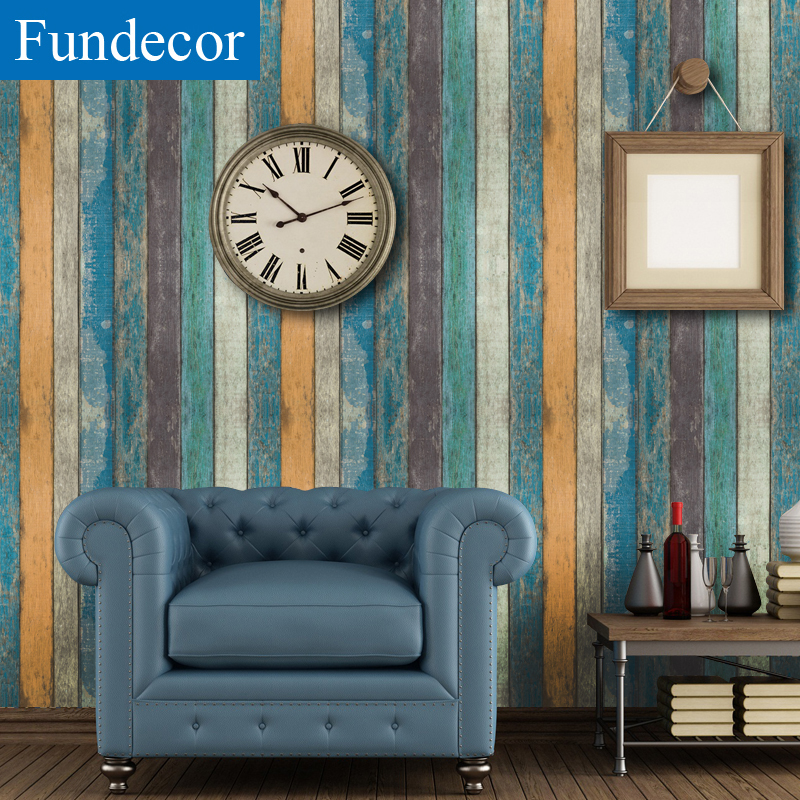 [Fundecor] Retro Wooden Stripes Wallpaper Self Adhesive For Living Room Kids Rooms Home Decor 3D Wall Paper Rolls Mural Stickers