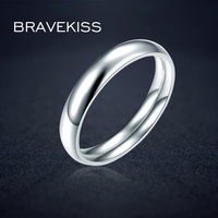 BRAVEKISS Sample Couple 925 Sterling Silver Ring For Women Classic Plain Wedding Engagement Band Ring Jewelry