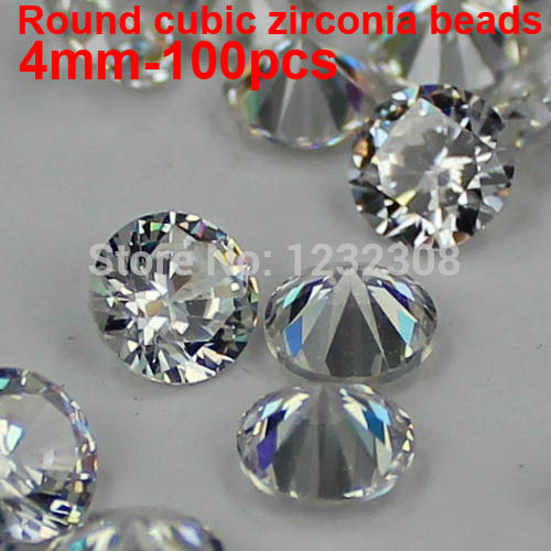 100pcs 4mm Crystal AAAAA Brilliant Cuts Round Cubic Zirconia Beads Pointback Stones Supplies For Jewelry Nail Art DIY Decoration