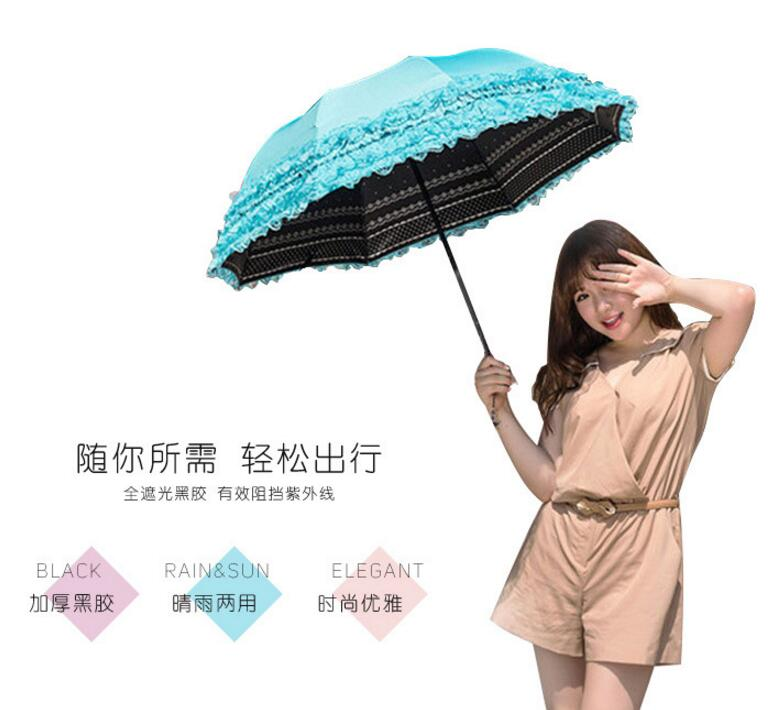 1 piece creative three folding double lace flower floral on side parasol arched UV umbrella with nice handbag cover