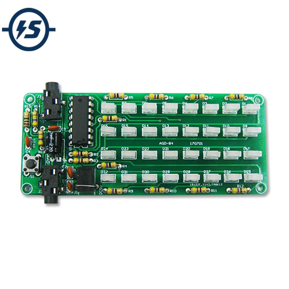 ASD-84 spectre Audio 8x4 R bricolage Kit indicateur de niveau spectre vocal lumières rouge + bleu coloré affichage bricolage Kits DC 5 V