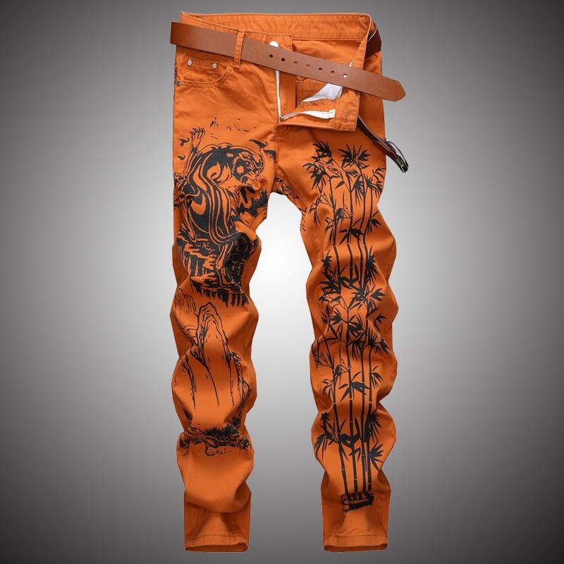 Fashion Print Casual Jeans Pants Men Slim Fit Denim Pant Jean Joggers 2019 Men Hip Hop Streetwear Trousers Clothing Orange WA111