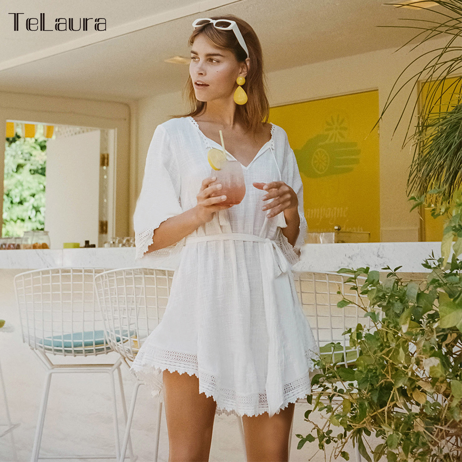 2019 Beach Cover Up, 3 Styles, Lace Hollow, Crochet Swimsuit Beach Dress, Women's Swimwear Cover-Up 2