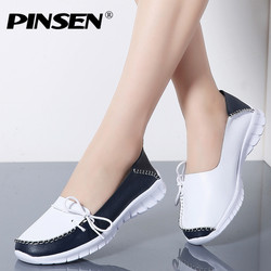 PINSEN 2019 Autumn High Quality Women Shoes Genuine Leather Slip On Flats Shoes Woman Handmade Loafers Flat Ladies Shoes Slipony
