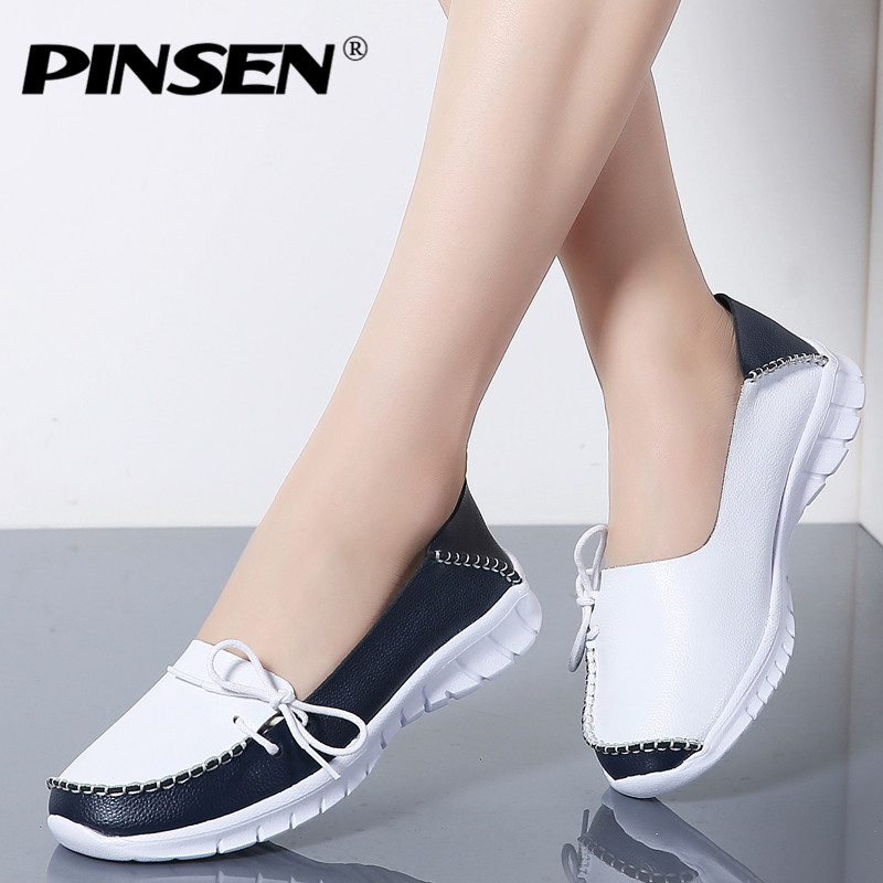 PINSEN 2019 Autumn High Quality Women Shoes Genuine Leather Slip On Flats