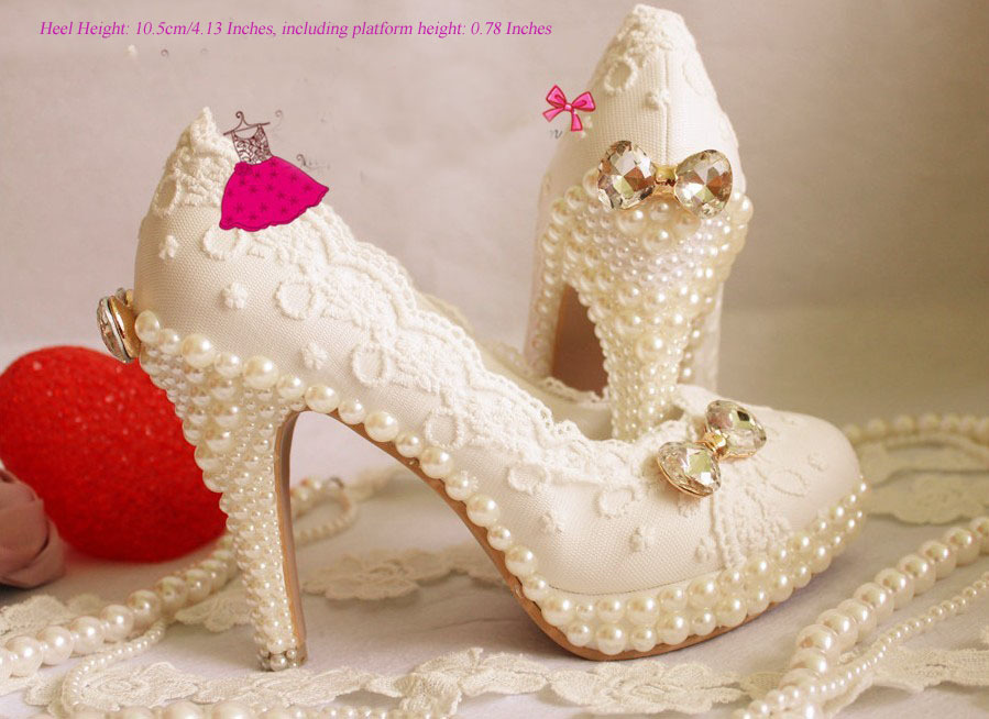 ФОТО Handmade White Lace wedding shoe Pearl sparkling diamond wedding shoes  wedding dress formal high/low heel dress shoe