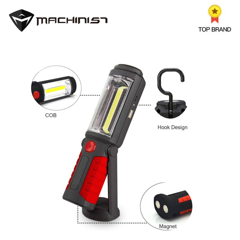 LED Flashlight USB Rechargeable COB Torch Work Pen Light Battery Hook Outdoor Auto Car Repair Red Pocket Flashlight