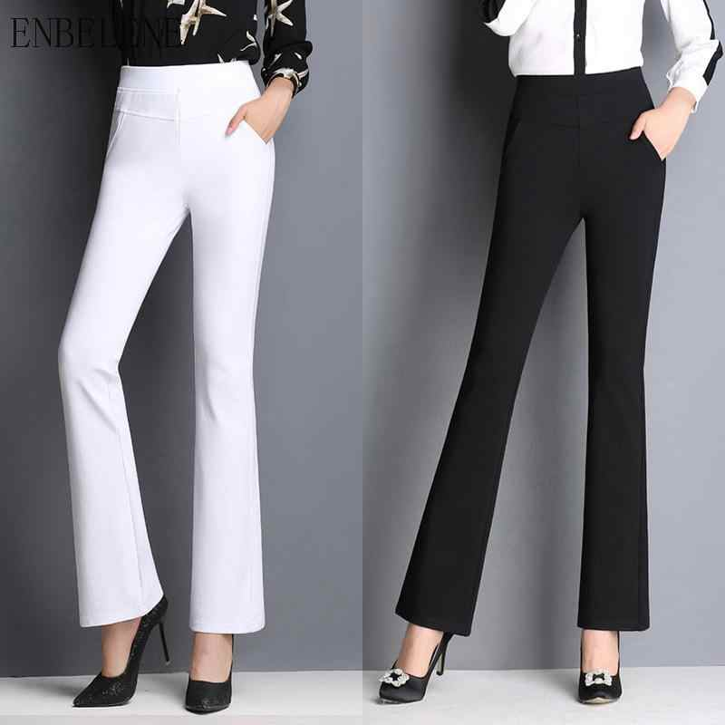 2019 Autumn New Elastic High Waist Trousers Women Solid Black White Flare Pants For Female Fashion Office Pants Ladies 5xl GJ284