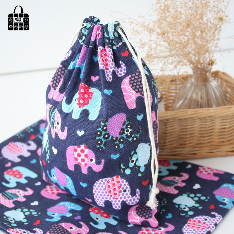 Blue elephants 100% cotton bag Travel Accessories Clothes underwear shoes kids toy Storage Pouch Luggage Packing Organizers bag