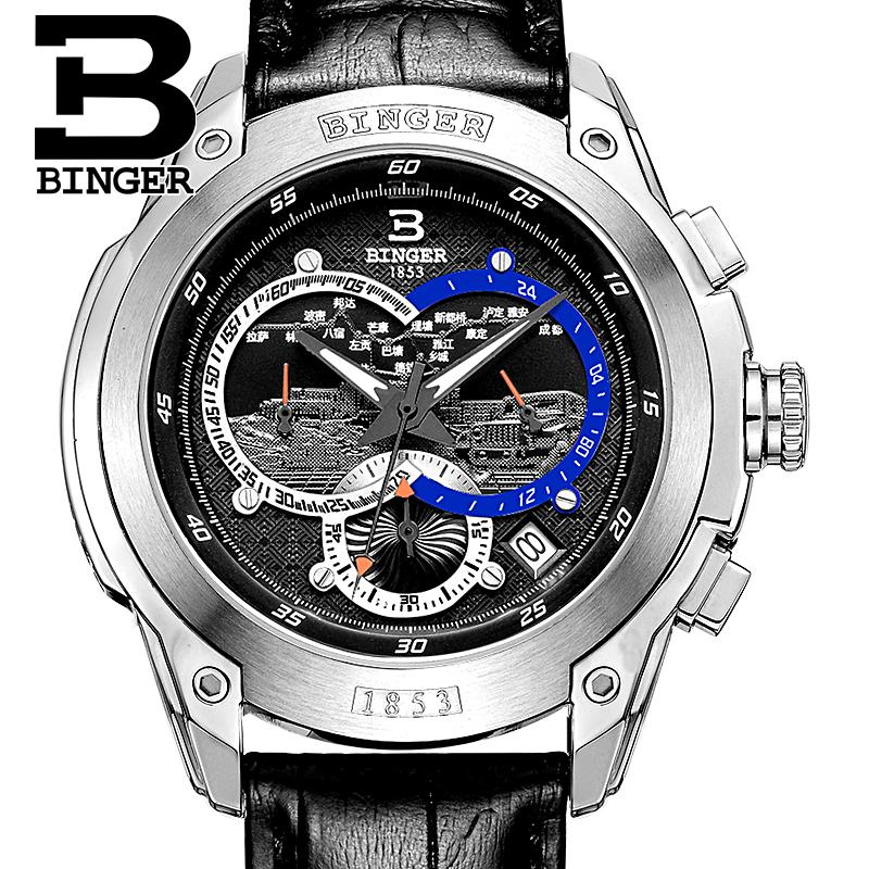 Switzerland watches men luxury brand Wristwatches BINGER Quartz men's watch leather strap Chronograph Diver glowwatch B6013-6 switzerland binger men s watches luxury brand quartz waterproof leather strap clock chronograph stop watch wristwatches b9202 8