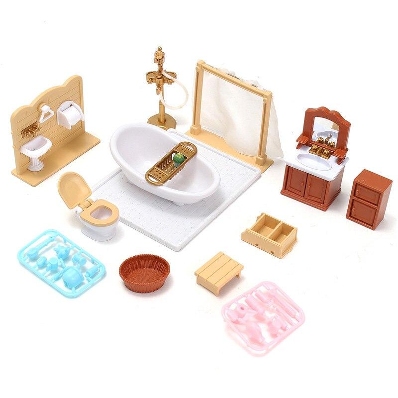 DIY Miniatures Canapé Chambre Salle De Bains Table À Manger Ensembles de Meubles Pour Poupée Maison Artisanat Jouets Accessoire De Noël Cadeau D'anniversaire