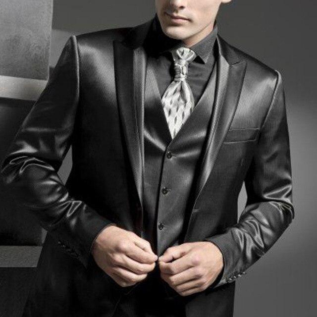 49a9b18bdf Brillante Gris Carbón smoking por encargo traje de novio de la boda  brillante