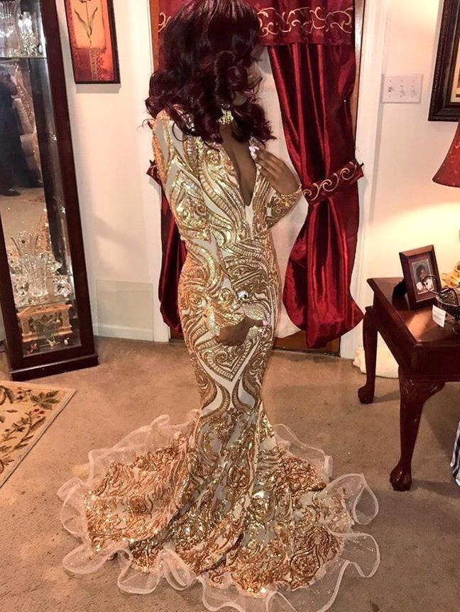 Long   Prom     Dresses   2019 Sexy Sparkly Gold Sequins Long Sleeve V Neck Women Mermaid Evening   Prom   Party Gowns For Black Girls