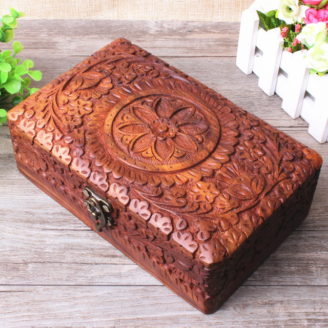 India Pakistan Antique Walnut handmade jewelry box jewelry box