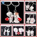 Artículos de la novedad Casual pareja amor llavero de dibujos animados amantes anillo mujeres boda accesorio de la joyería de regalo de San Valentín