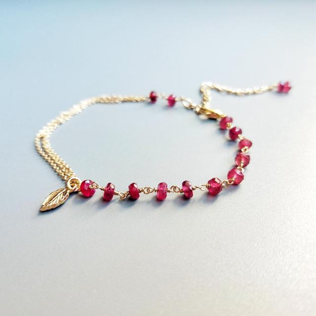 Red Ruby Bracelet 925 Sterling Silver 18K Gold Plated 4